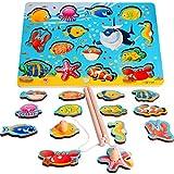 Rolimate Angelspiel Holz, Angelspiel mit 14-teilig Magnetische Holzpuzzle 2 Angeln Holzspielzeug Puzzle ab 2 Fische Angeln Spiel Weihnachts Geburtstagsgeschenk für Kinder ab 1 2 3+ Jahren