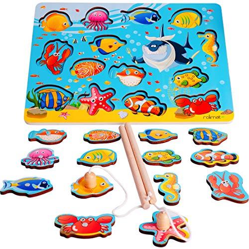 Rolimate Angelspiel Holz, Lustiges Angelspiel mit 14-teilig Magnetische Holzpuzzle 2 Angeln Holzspielzeug Fische Angeln Spiel für Kinder ab 3 Jahren