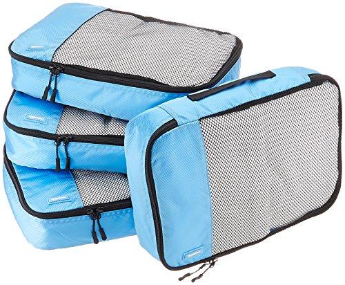 AmazonBasics Lot de 4sacoches de rangement pour bagage TailleM, Bleu Ciel