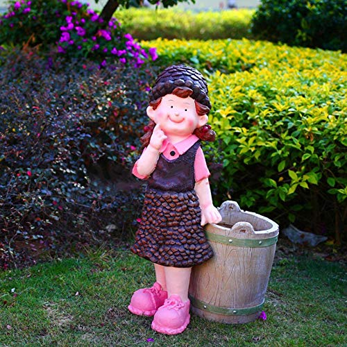 TYYM Dustbins Outdoor Mülleimer Cartoon Puppe Garten Garten Villa Kinder Handwerk Ornamente Charakter Outdoor Dekoration Tannenzapfen Baby 1