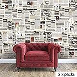Walplus (TM) Wand-Aufkleber, Motiv Vintage Zeitung mit Collage 2 Packungen-Dekoration, 280 x 200 cm 180 cm, mehrfarbig