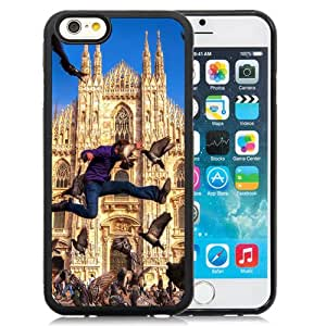 6 Phone cases, City Buildings Windows Arches Peaks Towers Architecture Man People Crowds Birds Blue Pack Wings Jump Fly Moment Black iPhone 6 4.7 inch TPU cell phone case