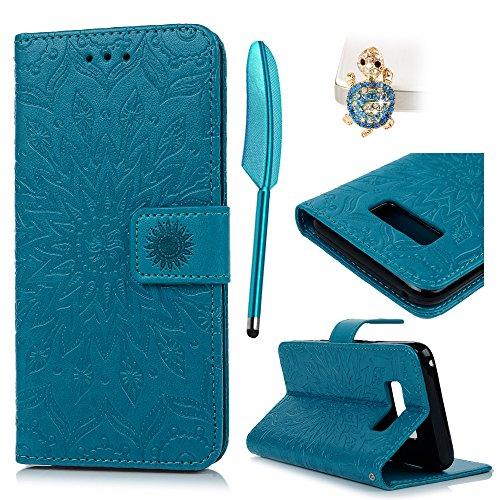 Funda para Samsung Galaxy S8, S8 Funda Libro de Cuero Impresión de Suave PU Premium e Silicone TPU Carcasa Con Tapa y Cartera, Correa de mano, Soporte Plegable, Ranuras para Tarjetas y Billetera, Cierre Magnético Girasol azul