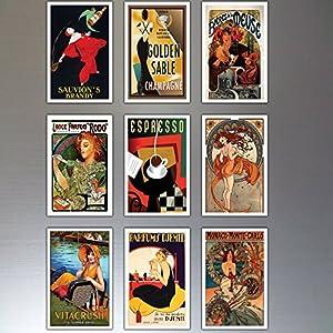 9 Vintage Retro Advert Poster Kühlschrankmagnete – schäbig, Chic, Art Deco – No.3