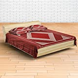 EIN SOF Accord 100% Cotton Double Bedsheet (90x100 Inches) With 2 Pillow Covers Combo Set, Double Bed, King Size Cotton Bed Sheet, Pure Cotton, Accord Series Square, 300 TC, Red