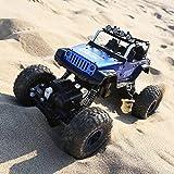 FSTgo Monster Truck mit Fernbedienung, 1/18, 4x4 Off-Road Jeep, 2,4 GHz funkgesteuertes Auto, Rock Crawler mit Metalllegierung samt LED-Licht, Hobby-Auto für Kinder(Blau)
