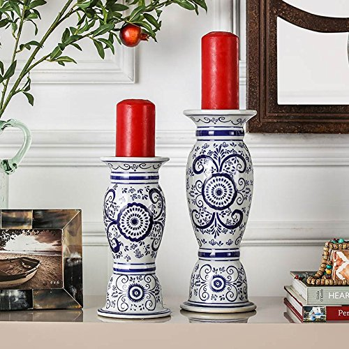 PEIWENIN-Chinesische Wind Keramik Kerze Tisch Hause Desktop dekorative blau und weiß Keramik Kerzenständer, 11,5 * 31cm -