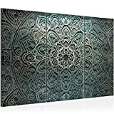 Bilder Mandala Abstrakt Wandbild 120 x 80 cm Vlies - Leinwand Bild XXL Format Wandbilder Wohnzimmer Wohnung Deko Kunstdrucke Grün 3 Teilig - MADE IN GERMANY - Fertig zum Aufhängen 109431a