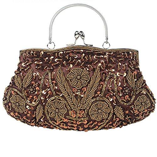 Damen Abendtasche Perlen Pailletten Satin Dinner Party Clutch Taschen. 30 X 26Cm brown