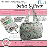"Travel Makeup Bag By Bella and Bear - the ""Glam"" Make up Bag Features 4 Clear Zipped Pockets And A Handy Hook For Hanging"