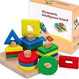 Fenrad Jouets en Bois Formes À Trier Empiler Jeu de Tri Couleurs, Puzzles Bois en Éducatif l'apprentissage Géométriques Forme