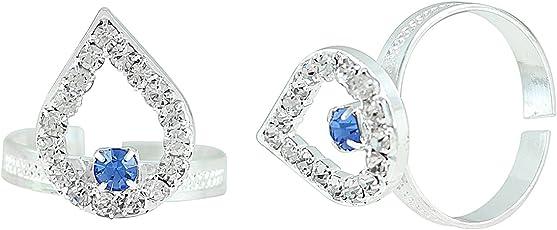 Memoir Silver plated Pear shape design White andInk Blue CZ Adjustable Toe ring for Women