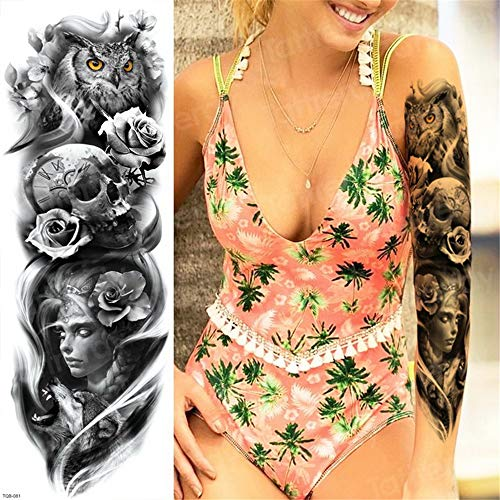 tzxdbh 3Pcs-Tattoo Ärmel Muster Tattoos Oversleeve große Tätowierung Langarm Tattoo für Frau Halloween Körper Aufkleber Mädchen 3Pcs