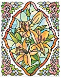 dpr. Fensterbild Set 5-tlg. - Tiffany Optik - Blumen - Lilie - zart beglimmert - mit Eckbordüren - Fenstersticker Aufkleber Fensterdeko
