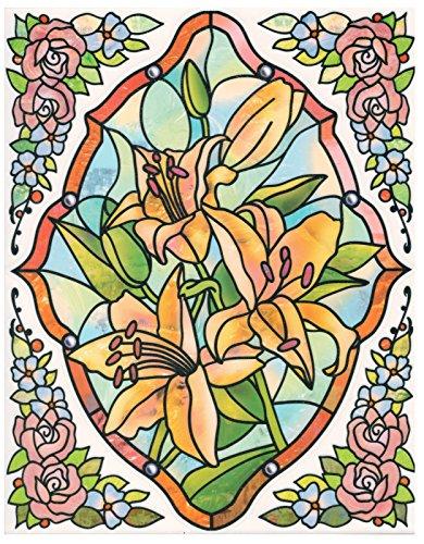 dpr. Fensterbild Set 5-tlg. - Tiffany Optik - Blumen - Lilie - zart beglimmert - mit Eckbordüren -...