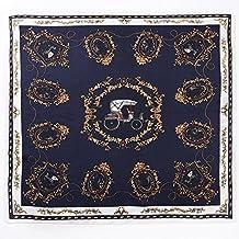 La pianura collo sciarpa in pelle morbida seta Mulberry foulard di seta strettamente _100% seta Leopard catena Stampa foulard di seta decorata carriera, sciarpe, scialli, Dayily specchio di corrente marina sovietica blu ,52*52cm