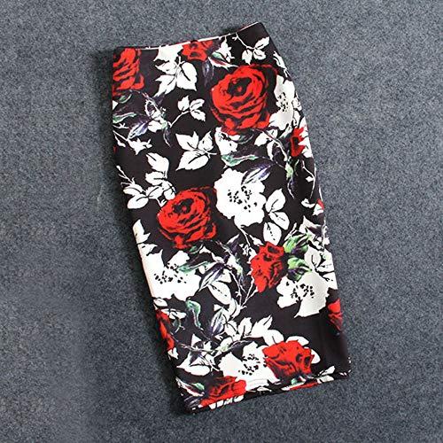 HEHEAB Rock,Pflanzenblumen, Polyester, Baumwolle Plus Size Damen Röcke Lässige Print Blumen Bleistiftrock Lolita Style Knielange Röcke, M - Style-blumen-print