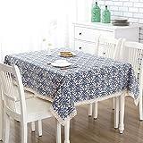 Pingenaneer Leinen Tischdecke Retro Blaue Blumen mit Spitzen Gartentischdecke Schmutzabweisend Waschbar Tischtuch für Küche, Esszimmer, Garten, Balkon oder Camping - 140*250cm