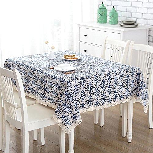 Pingenaneer Leinen Tischdecke Retro Blaue Blumen mit Spitzen Gartentischdecke Schmutzabweisend...