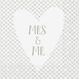 Klassische Servietten zur Hochzeit/Weiße Hochzeitsservietten - Mrs.& Mr. - Sparpackung: 100 Stück - 33cmx33cm - Tischservietten/Hochzeitsdekoration/Dekoservietten