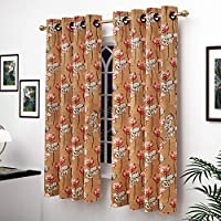 Story at Home Window Curtain, Golden/Red, 118 x 152 cm, WGY2014, 2 Pieces