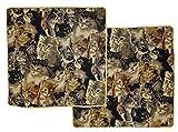 Lot de 2housses de coussin style tapisserie Motif chats Coussin décoratif 40x 40cm Lot De 2