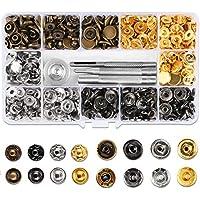 Qliver 120pc Kit Herramientas Botones de Presión Herramienta de Fijación Herramientas Reparar Fijar Metal Para Cuero y la Ropa de Tela y Piel de Bricolaje , Botones de PresióN Kit de Anillas con Ojales Remache Costura Metal Craft