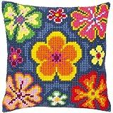 Vervaco - Kit para cojín de punto de cruz, diseño de flores, multicolor