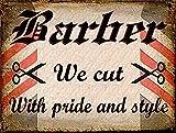 Barber Wir Schnitt mit Pride Metall blechschild Art Wand Plaque Neuheit Geschenk Werbung