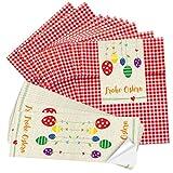 10 rot karierte Papiertütchen (13 x 18 cm) und 10 lange Oster-Aufkleber 7,2 x 21 cm