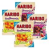 Haribo Fruitmania 4er Set, Lemon, Berry, mit Fruchtsaft, Gummibärchen, Weingummi, Fruchtgummi, im Beutel