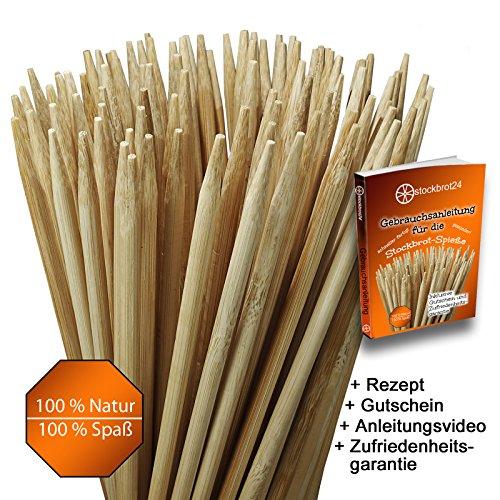 Grillspieße Marshmallow Sticks 100 Stück (fast 1 Meter lang) 90 cm Lagerfeuer Spieße für Stockbrot, Marshmallows, Bratwurst, ideal für Lagerfeuer und Feuerschale sehr stabil ohne Reinigen