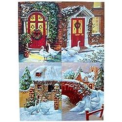 Gansos Navidad tarjetas de Navidad, 4diseños con sobres