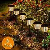 Lot de 6 lampes solaires de jardin, GolWof - Éclairage solaire - Lumière blanche chaude et solaire - Étanche - IP44 - Pour extérieur - Villa pelouse