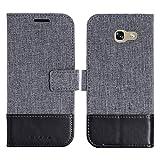 muxma Samsung Galaxy A5 2017 Textilgewebe Kunstleder Tasche Schutzhülle Handyhülle Visitenkartenfach und Standfunktion (Schwarz)