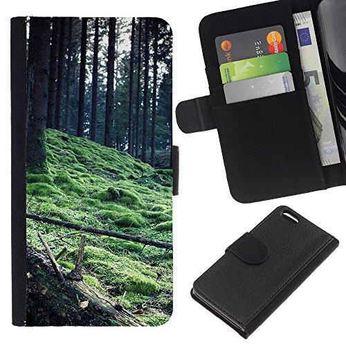 Ihec-Tech / Flip étui Housse en cuir avec des fentes de cartes pour Apple iPhone 5C - Plant Nature Forrest Flower 56