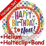 * SINGENDES * Folienballon Set * HAPPY BIRTHDAY TO YOU + HELIUM FÜLLUNG + HALTE CLIP + BAND * für Geburtstag // Folien Ballon Helium Kindergeburtstag Deko Ballongas Motto bunte Luftballons singing Balloon
