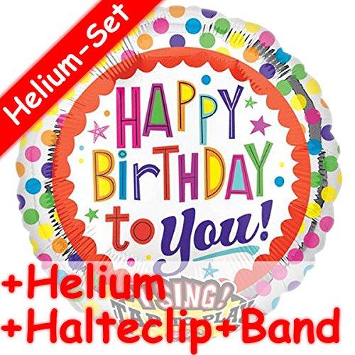(* SINGENDES * Folienballon Set * HAPPY BIRTHDAY TO YOU + HELIUM FÜLLUNG + HALTE CLIP + BAND * für Geburtstag // Folien Ballon Helium Kindergeburtstag Deko Ballongas Motto bunte Luftballons singing Balloon)