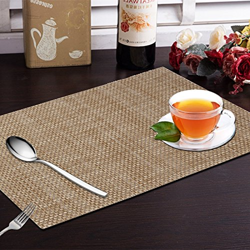 Yellow Weaves™ 6 Piece Dining Table Placemats - Beige