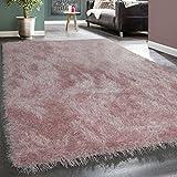 Moderner Wohnzimmer Shaggy Hochflor Teppich Soft Garn In Uni Pastell Rosa, Grösse:80x150 cm
