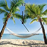 Artland Analoge Wand-Funk-oder Quarz-Uhr Digital-Druck Leinwand auf Holz-Rahmen gespannt mit Motiv eyetronic Urlaub am Palmenstrand in der Karibik mit Hängematte Landschaften Amerika Karibik Fotografie Blau B6VD