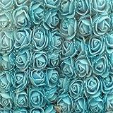 Rosa artificial de flores, 144 piezas de rosas de espuma de polietileno con velo para decoración del hogar, fiesta, boda, ramos, cumpleaños, baby shower, bricolaje(azul cielo)