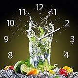 Eurographics Wanduhr aus Glas für die Küche, Ice Mojito, Cocktail Glas, 30x30 cm