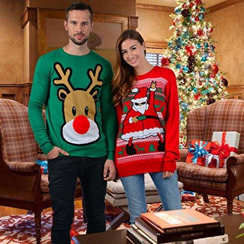 Uideazone Uomo Donna Maglione Natale Ugly Christmas Coppia Maglioni Sweaters Manica Lunga Girocollo Xmas Pullovers xmas-1