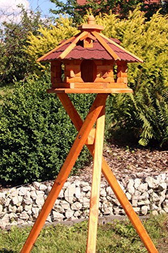 Vogelhaus aus Holz mit Ständer Typ 4 (rot)