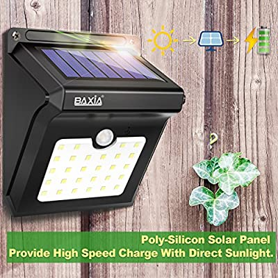 BAXiA Solar Lights Outdoor,Solar Powered Security Lights,Waterproof Wireless Solar Security Lights Motion Sensor for Outdoor Gate,Yard,Steps,Patio,Fence,Driveway, Garden