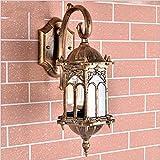 Modeen Tradition Victoria Antike Europäische Messing Außenwand Laterne Lampe Gang Balkon Garten Wasserdichte Lampe LED Retro Aluminium Wandleuchte E27 Dekoration Beleuchtung