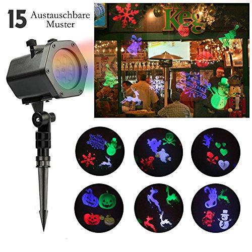 Vol Iv-muster (LED Projektor | infinitoo 15 Austauschbare Muster und 4 Farben Licht Effekt für Innen-/Außenbeleuchtung, Wand Dekoration und Gartenlicht, Ideale Beleuchtung für Festen, Allerheiligen, Weihnachten)