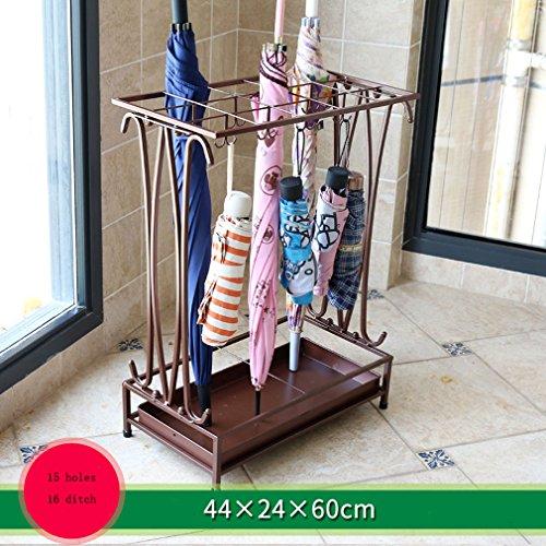 TONG - TONG - WIDE Umbrella Rack Hotel Lobby Home Kreativboden Hinterer Regenschirm Platzierung Regal (braun) (44 * 24 * 60CM) (15 Löcher 16 Graben) Kunst Handwerk Regal
