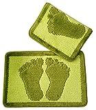 Gökyildiz 2Pieza baño (60x 40cm), diseño de pies, Colores a Elegir, Alfombrilla, Felpudo Antideslizante, Polipropileno, Verde Claro, 60 x 40cm
